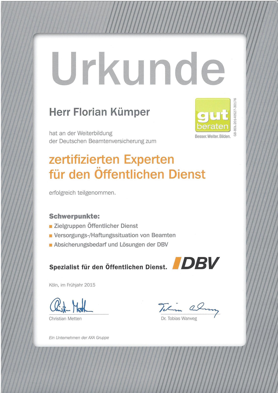 Urkunde DBV